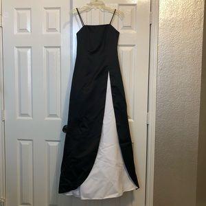 Black and white floor length formal dress